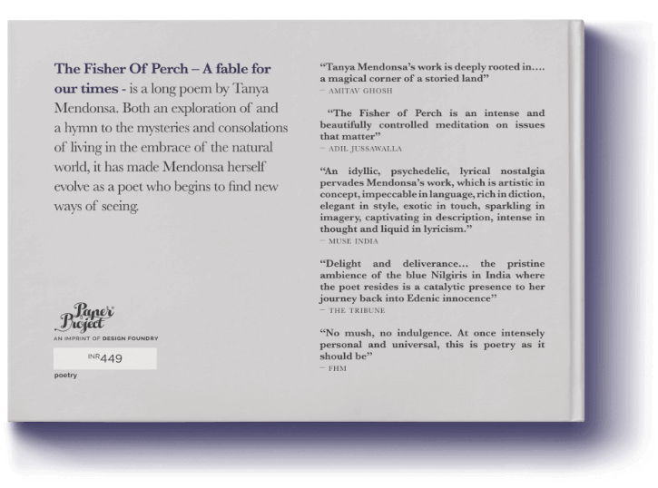The Fisher of Perch back cover featuring testimonials, designed by Design Foundry.
