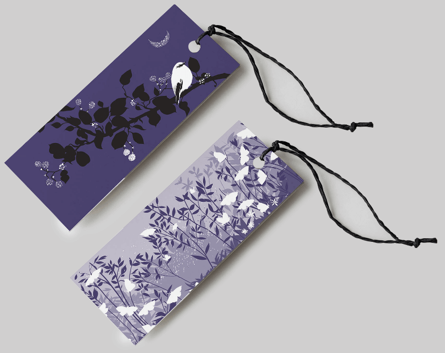 Bookmark mockup featuring illustrations of The Fisher of Perch book by Design Foundry